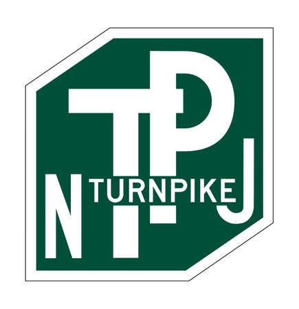 turnpike: Signo de New Jersey Turnpike de escudo aislada sobre fondo blanco.