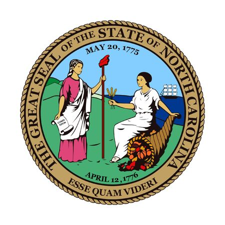 carolina: Seal of American state of North Carolina; isolated on whiite background.