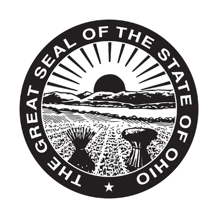 Seal of American state of Ohio; isolated on whiite background.