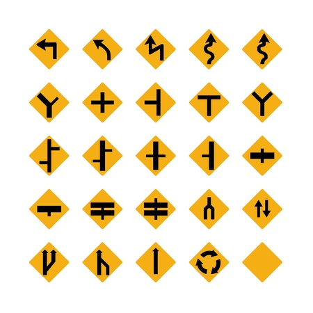 Illustrated set of amber traffic signs; isolated on white background Stock Photo - 9720409