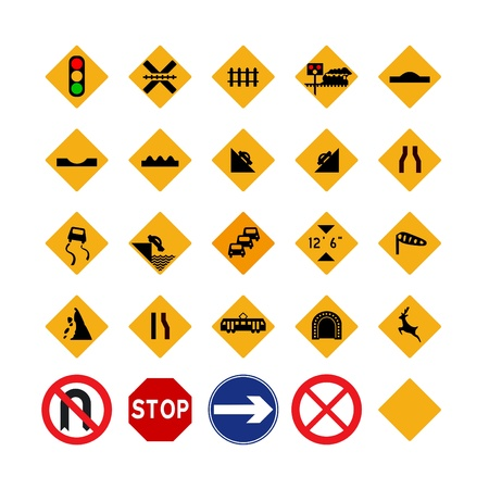 hazard signs: Illustrated set of amber traffic signs; isolated on white background