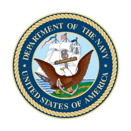 Dipartimento degli Stati Uniti del sigillo della Marina; isolato su sfondo bianco.