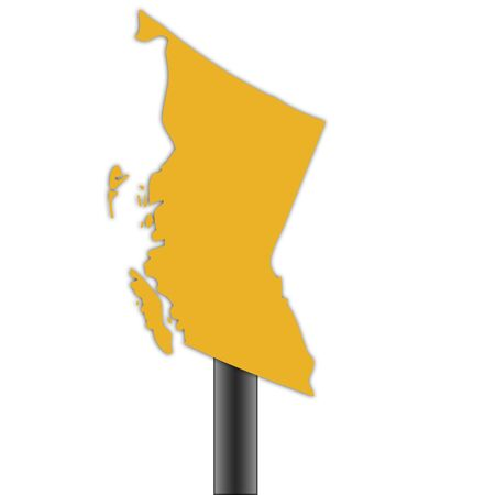 british columbia: British Columbia Canada map road sign isolated on a white background.