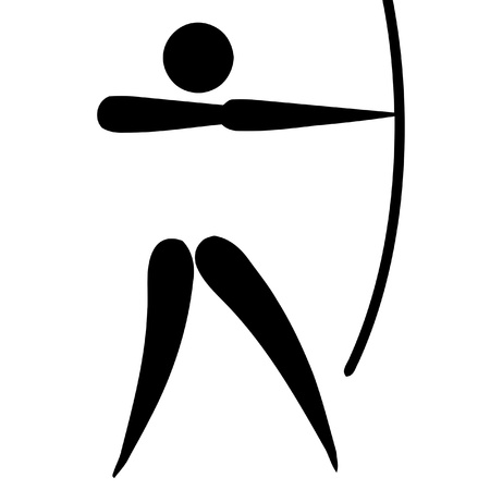 Black silhouetted archery sign or symbol; isolated on white background. photo