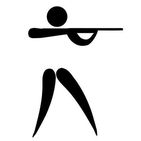 black pictogram: Black silhouetted shooting sign or symbol; isolated on white background. Stock Photo