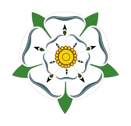 south west england: White Rose of Yorkshire isolated on plain background.