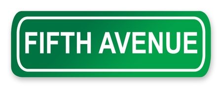 fifth: Fifth Avenue Street Sign isolated on white; New York City, America. Stock Photo