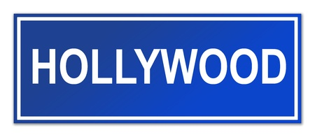Hollywood street sign isolated on white background with copy space. photo