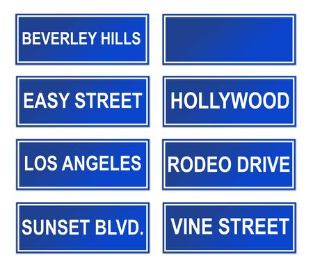famous place: Set of famous Los Angeles street or road signs; isolated in white background. Stock Photo