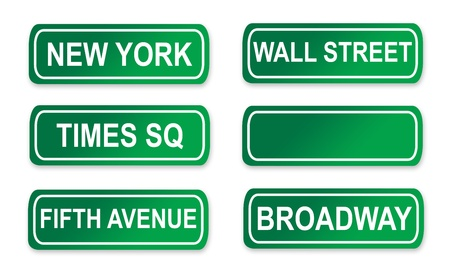 Set of famous New York City street signs; isolated on white background.
