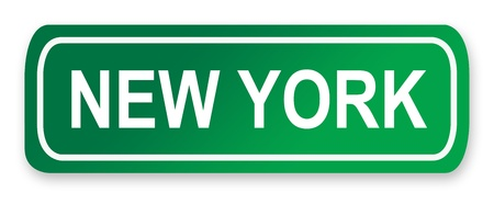 new york street: New York street or road sign isolated on white, America. Stock Photo
