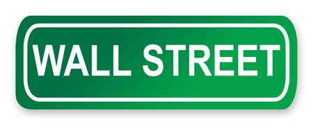 green street: Wall Street road sign in green, New York City, America. Stock Photo