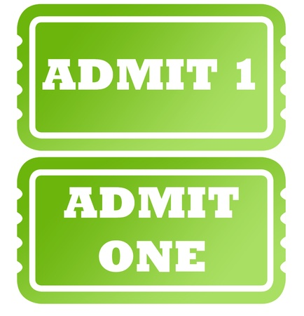 Set of two admit one green tickets; isolated on white background. Stock fotó - 11850068
