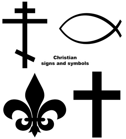 pez cristiano: Conjunto de signos o símbolos cristianos aislados sobre un fondo blanco. Foto de archivo