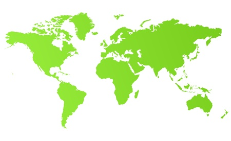 flat earth: Green eco world map isolated on white background. Stock Photo
