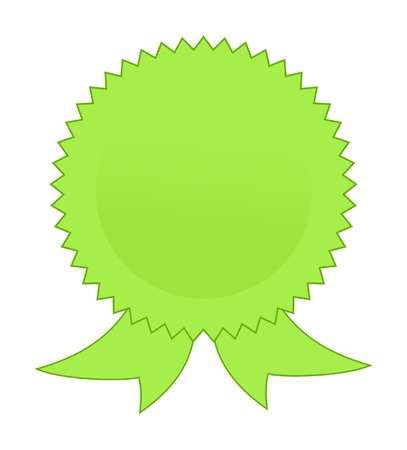 award ribbon rosette: Blank green rosette on white background with copy space. Stock Photo