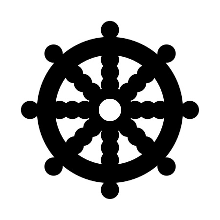 dharma: Buddhist Wheel of Dharma in black silhouette islolated on white background. Stock Photo