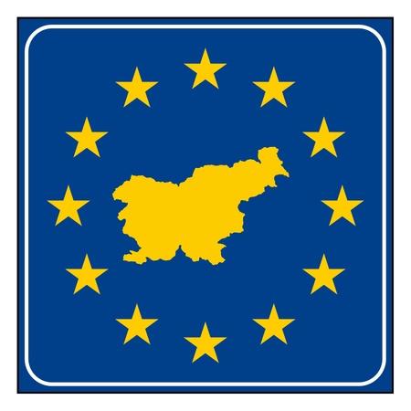 Slovenia European button isolated on white background with copy space. Stock Photo - 11930463