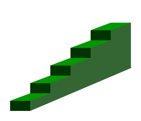recedes: Green steps or stairs sign isolated on white background