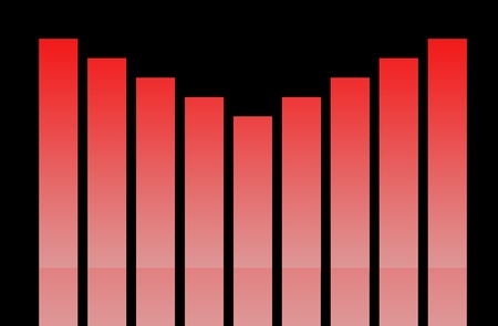 fluctuation: Red business graph isolated on a black background  Stock Photo