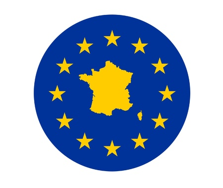 Map of France on European Union flag with yellow stars. photo