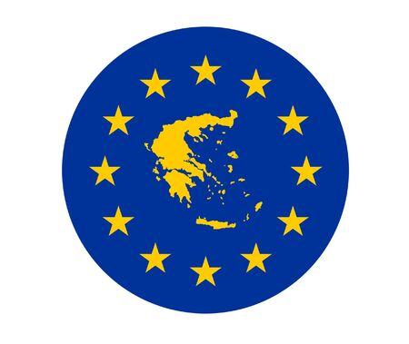 greek flag: Map of Greece on European Union flag with yellow stars.
