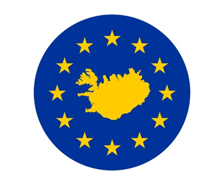 Map of Iceland on European Union flag with yellow stars. photo