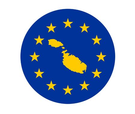 Map of Malta on European Union flag with yellow stars. photo