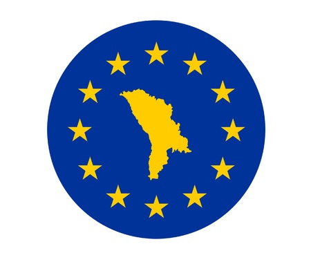 Map of Moldova on European Union flag with yellow stars. photo