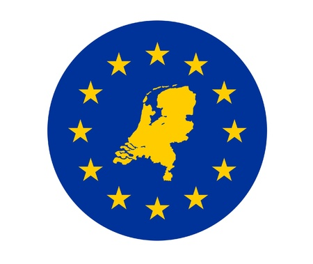 Map of Netherlands on European Union flag with yellow stars. photo
