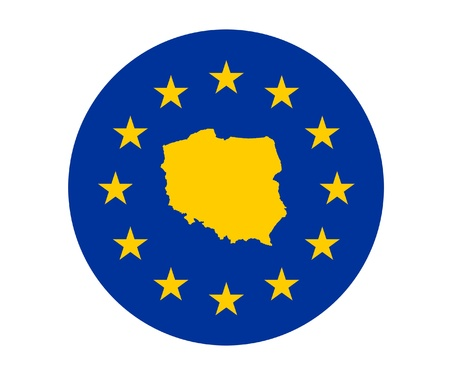 Map of Poland on European Union flag with yellow stars. photo