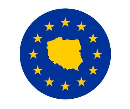 bandera de polonia: Mapa de Polonia en la bandera de la Unión Europea con las estrellas amarillas.