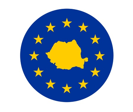 Map of Romania on European Union flag with yellow stars. photo