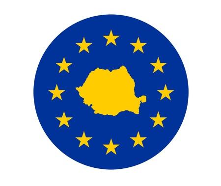 Map of Romania on European Union flag with yellow stars. Stock Photo - 13372454