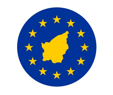 Map of San Marino on European Union flag with yellow stars. photo
