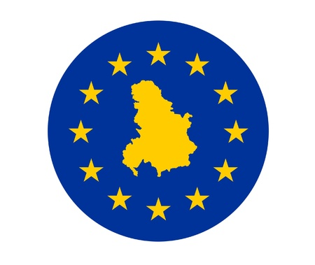 serbia and montenegro: Map of Serbia and Montenegro on European Union flag with yellow stars.