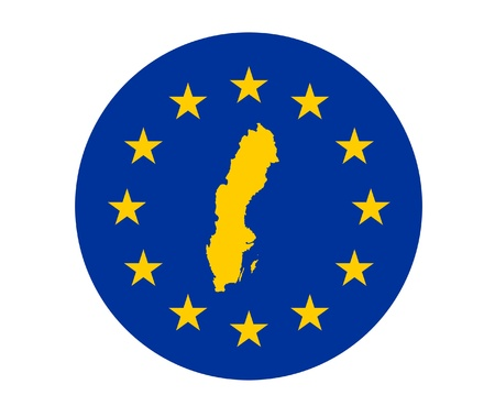 Map of Sweden on European Union flag with yellow stars. photo
