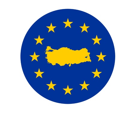 Map of Turkey on European Union flag with yellow stars. photo