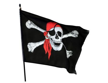drapeau pirate: Cr�ne et os croix drapeau de pirate isol� sur fond blanc Banque d'images