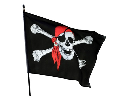privateer: Skull and cross bones pirate flag isolated on white background Stock Photo