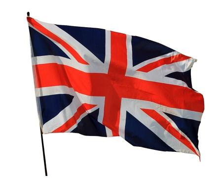 Union Jack flag isolated on white background photo