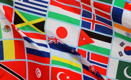 Background of world flags blowing in the wind Stock Photo - 13706609