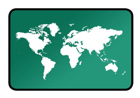 A world map sign os green background. photo