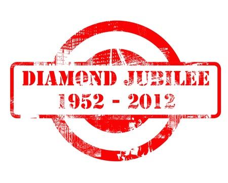 queen elizabeth ii: Diamond Jubilee stamp for Queen Elizabeth II after 60 years on the throne, concept. 1952-2012. Stock Photo