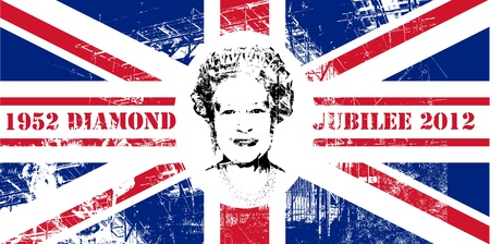 Diamond Jubilee Union Jack flag to celebrate Queen Elizabeth II with 60 years on the throne.