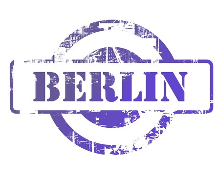 Berlin city stamp with copy space isolated on white background. photo