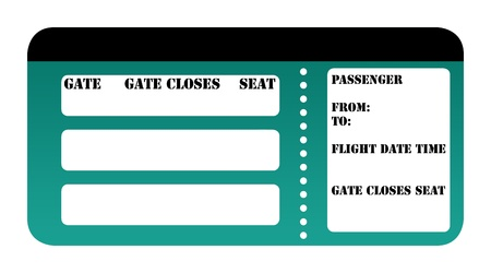 Blank boarding pass isolated on white background. photo