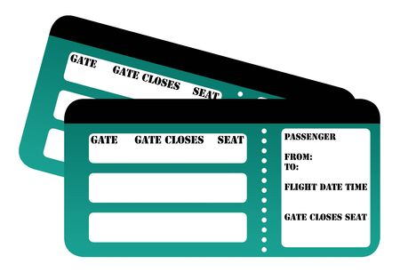 boarding card: Carta d'imbarco in bianco passa isolato su sfondo bianco. Archivio Fotografico