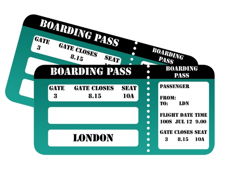 London 2012 boarding pass isolated on white background. photo
