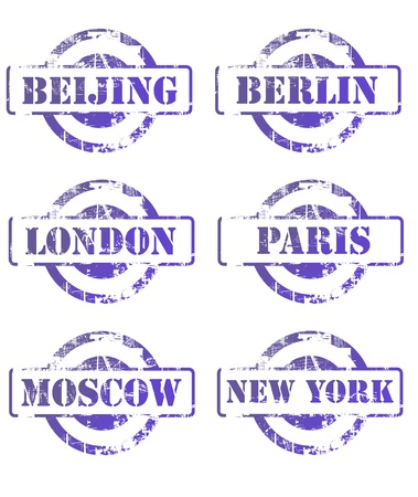 Major city passsport stamps isolated on white background.